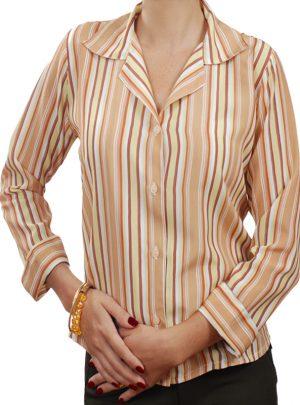 bee0ba9d47 Camisa social feminina de crepe de seda listrada bege