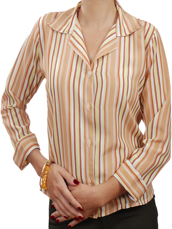77a3860744 Camisa social feminina de crepe de seda listrada bege