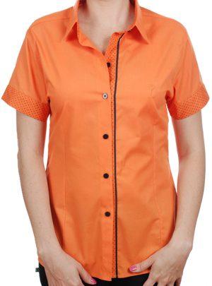 67aff48916 Camisa feminina laranja em 100% algodão com detalhes em bolinha