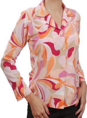 53c0ddc7c4 Camisa social estampada rosa crepe de seda