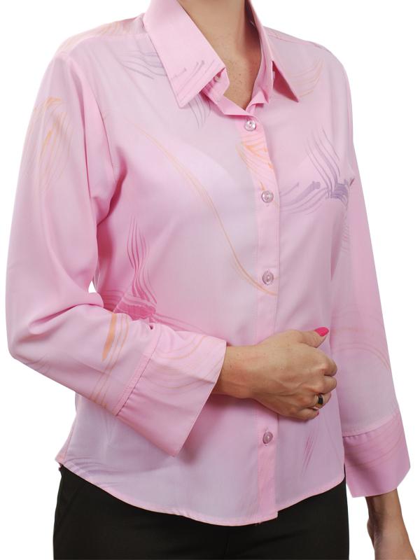 96d03617d0 Camisa feminina em crepe de seda rosa estampada