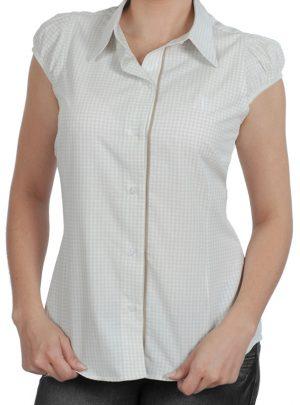 9ffa5bcfac Camisa social feminina xadrez branca com detalhe palha