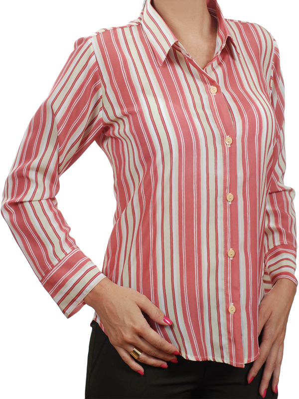 70116bbcf Camisa social listrada rosa de manga longa