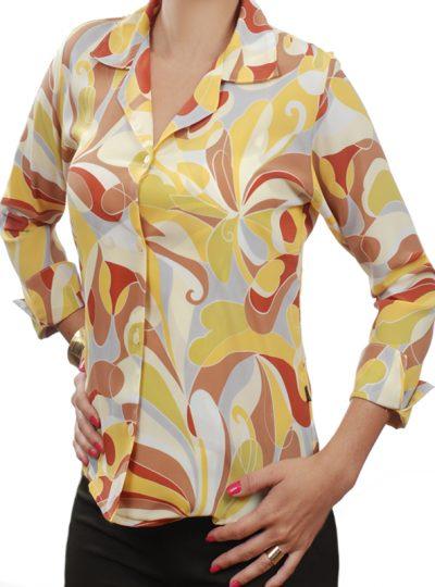 886f319fec Camisa feminina crepe de seda estampa amarela